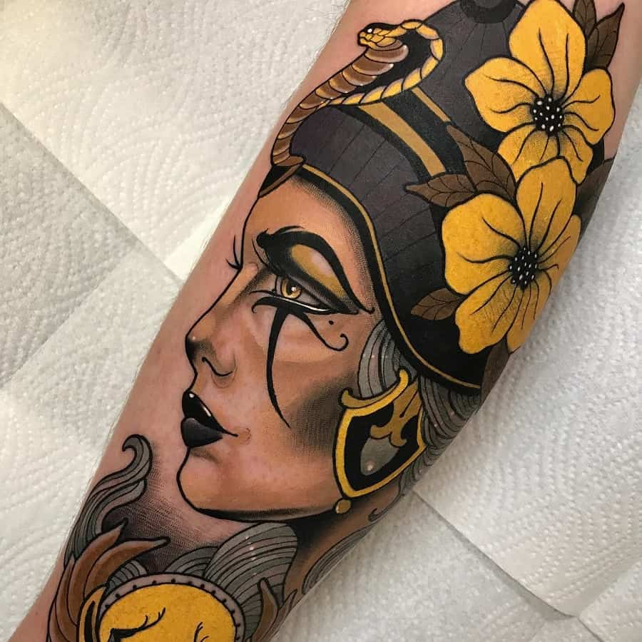 Watercolor Colored Nefertiti Tattoos @dyemtattoos