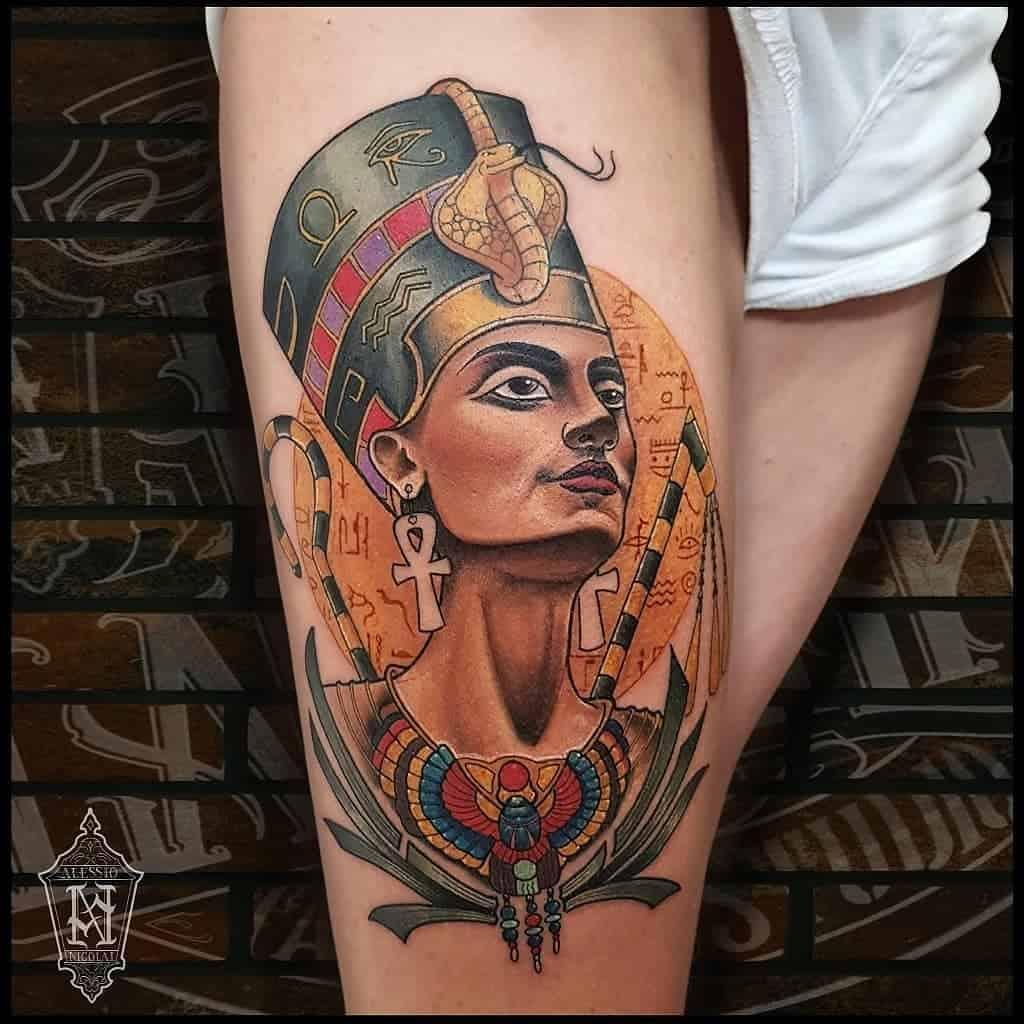 Watercolor Colored Nefertiti Tattoos Aletattooartist