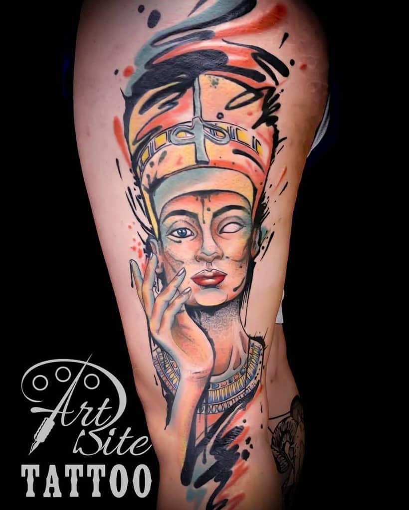 Watercolor Colored Nefertiti Tattoos Artbitetattoo