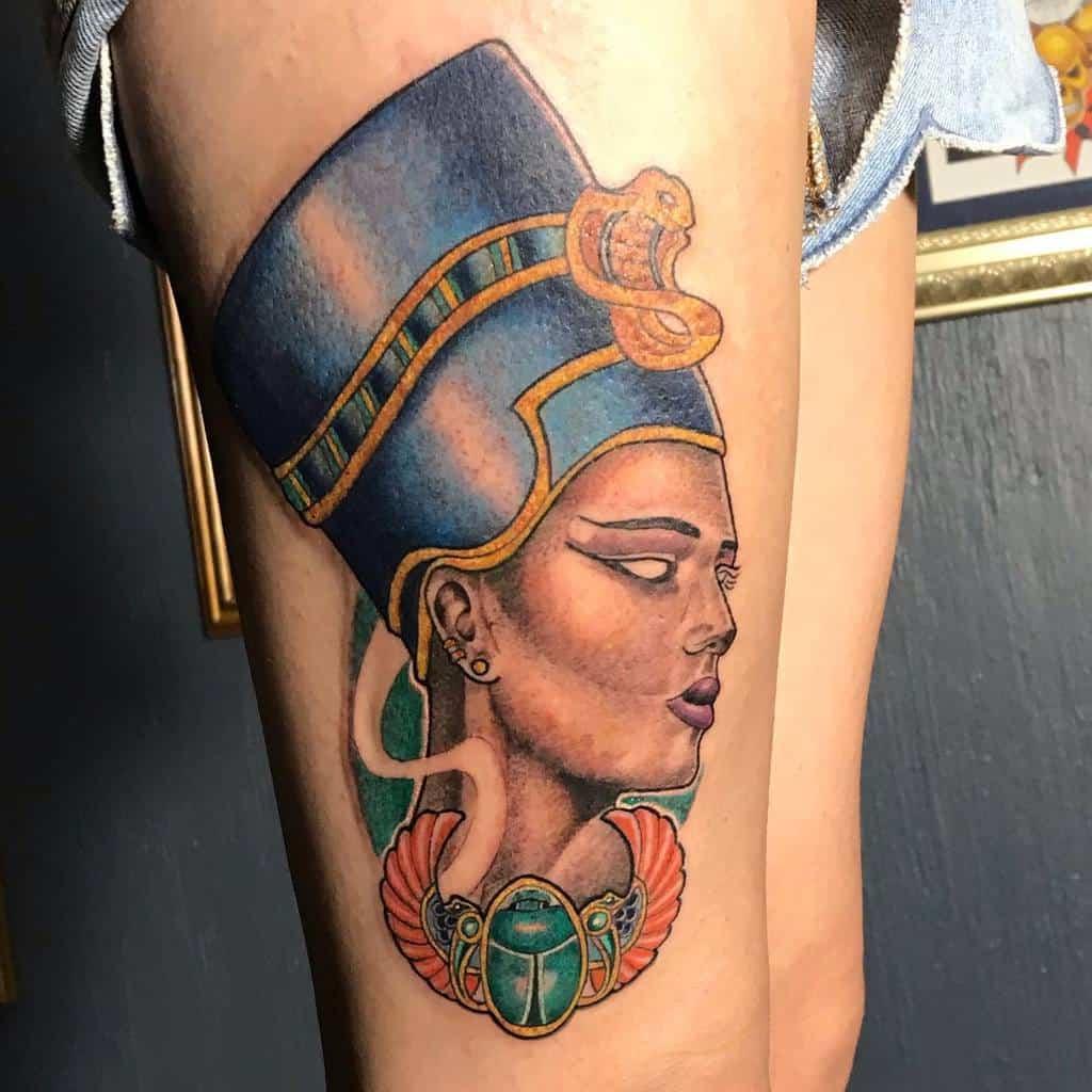 Watercolor Colored Nefertiti Tattoos Crix Vila