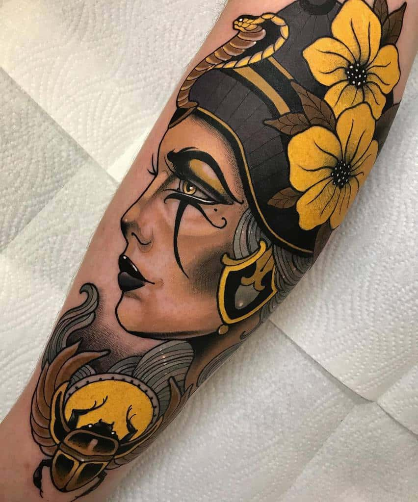 Watercolor Colored Nefertiti Tattoos Dyemtattoos