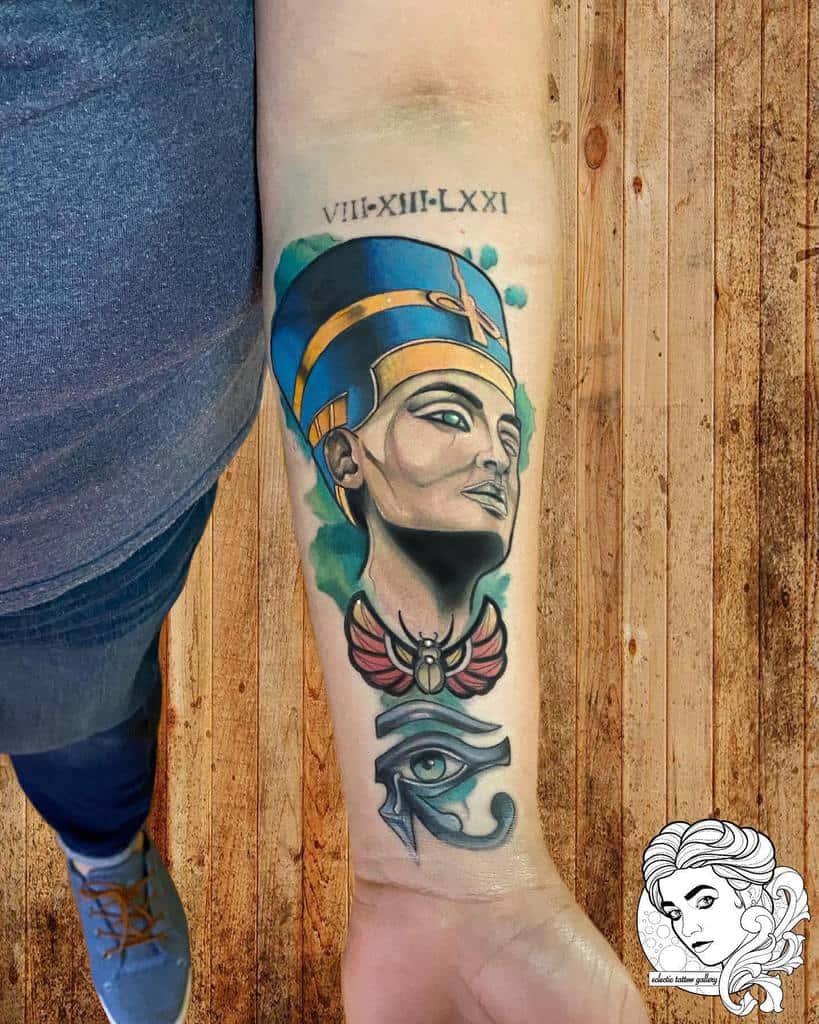 Watercolor Colored Nefertiti Tattoos E Tattoogallery