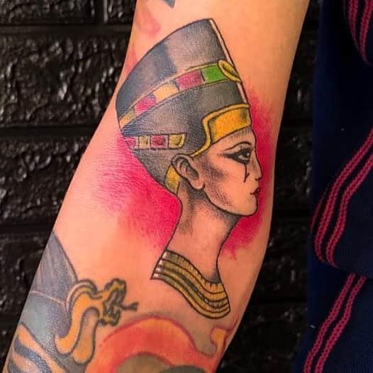 Watercolor Colored Nefertiti Tattoos Glaubertattoos