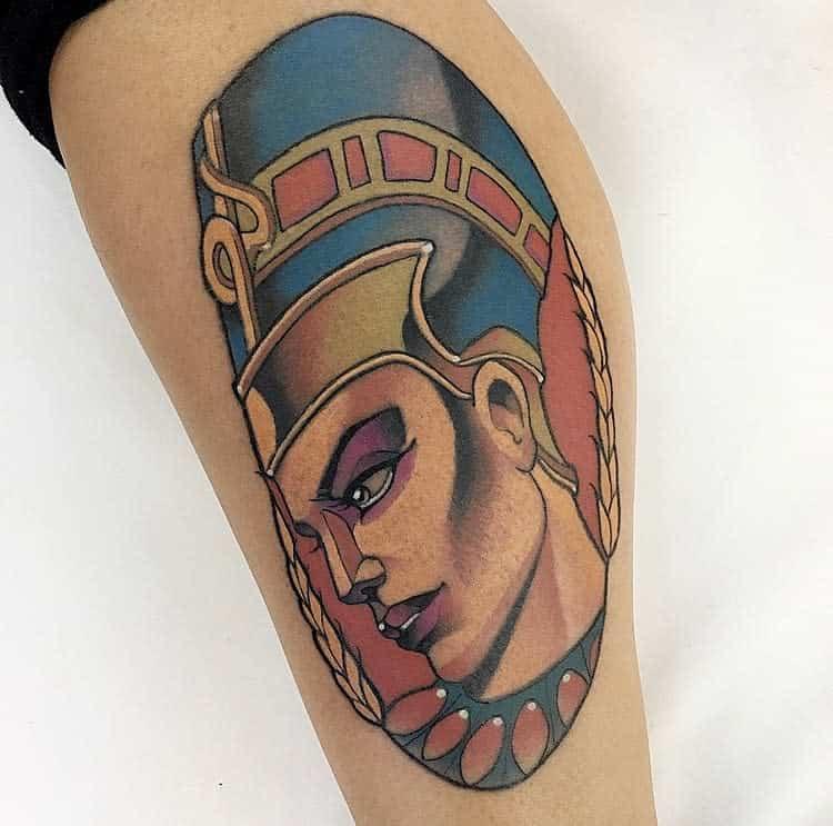 Watercolor Colored Nefertiti Tattoos Marciomumiatattoo