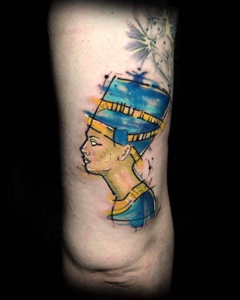 Watercolor Colored Nefertiti Tattoos Mentalitytattooshop