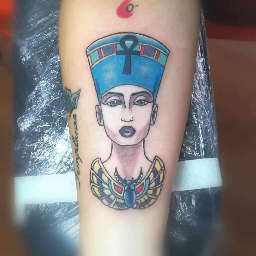 Watercolor Colored Nefertiti Tattoos Nnertattoo