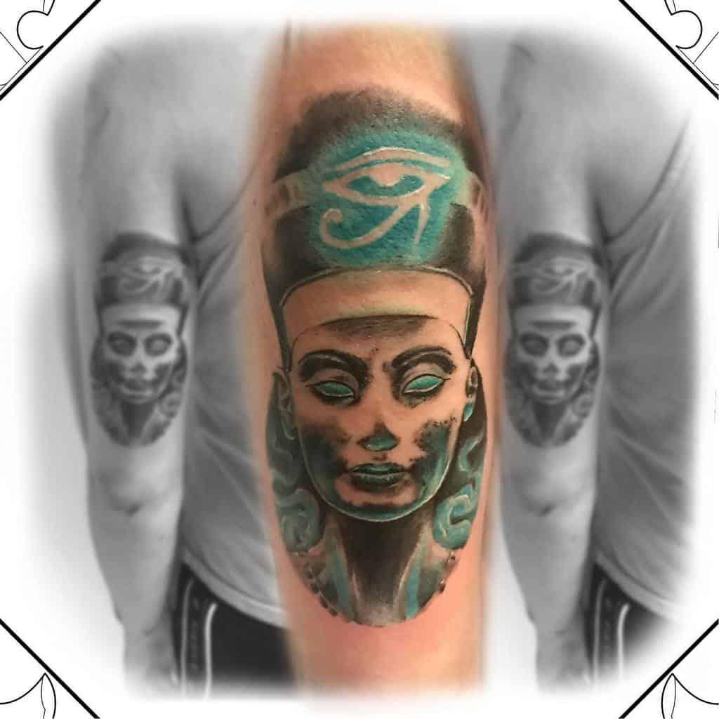 Watercolor Colored Nefertiti Tattoos Rata.de.ley