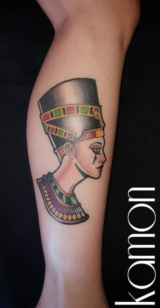 Watercolor Colored Nefertiti Tattoos Renatokamon