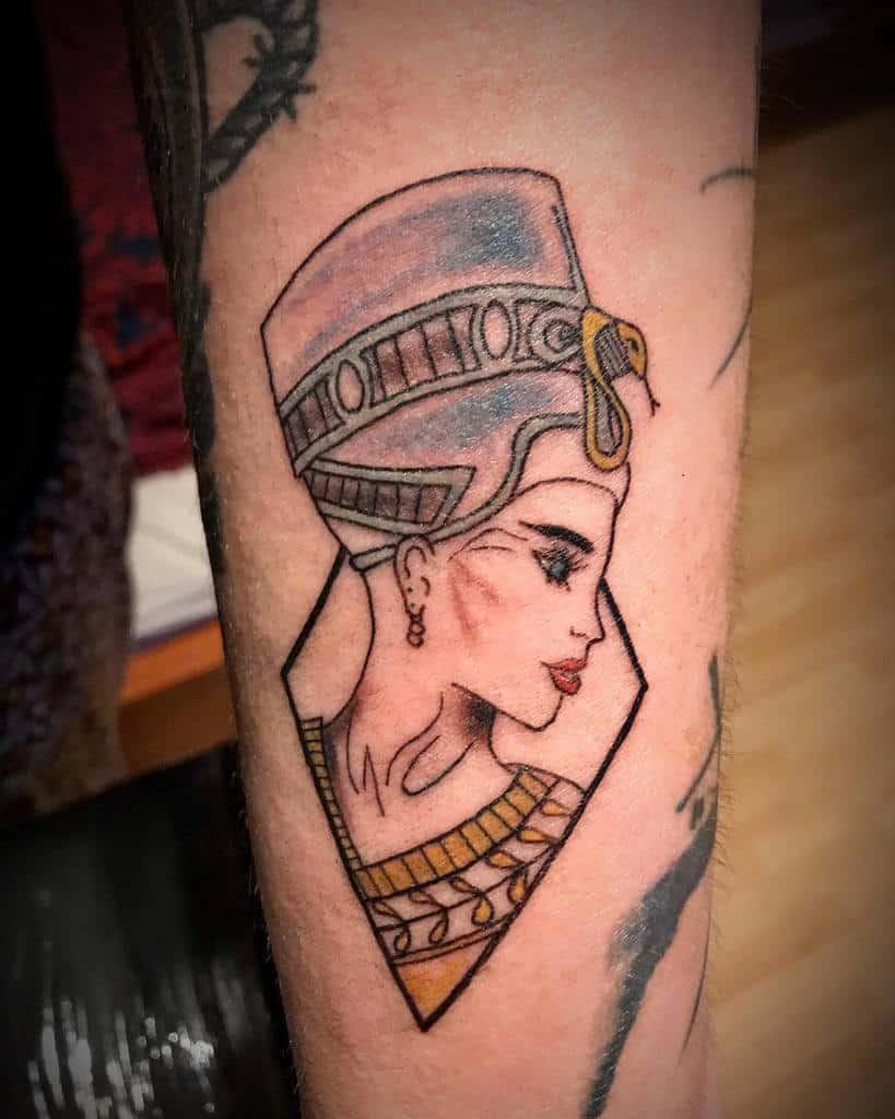 Watercolor Colored Nefertiti Tattoos Tattoo13 Cz