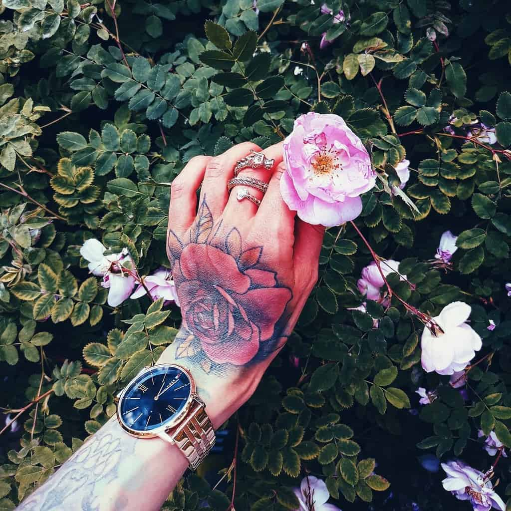 watercolor colored rose hand tattoos akneli7