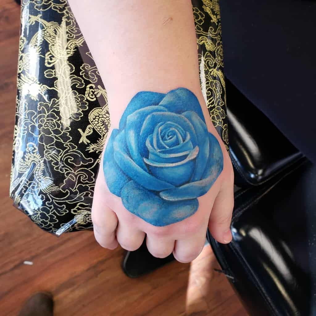 watercolor colored rose hand tattoos demaratattoo