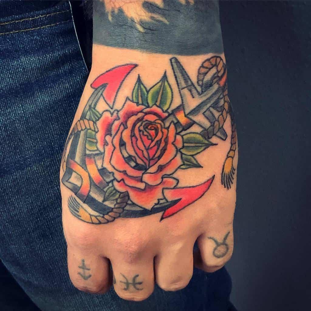 watercolor colored rose hand tattoos leo_salcedo_tattoo