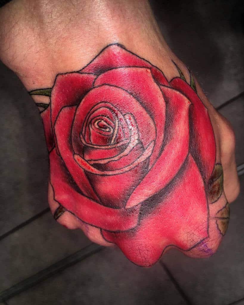watercolor colored rose hand tattoos littl3_ryan