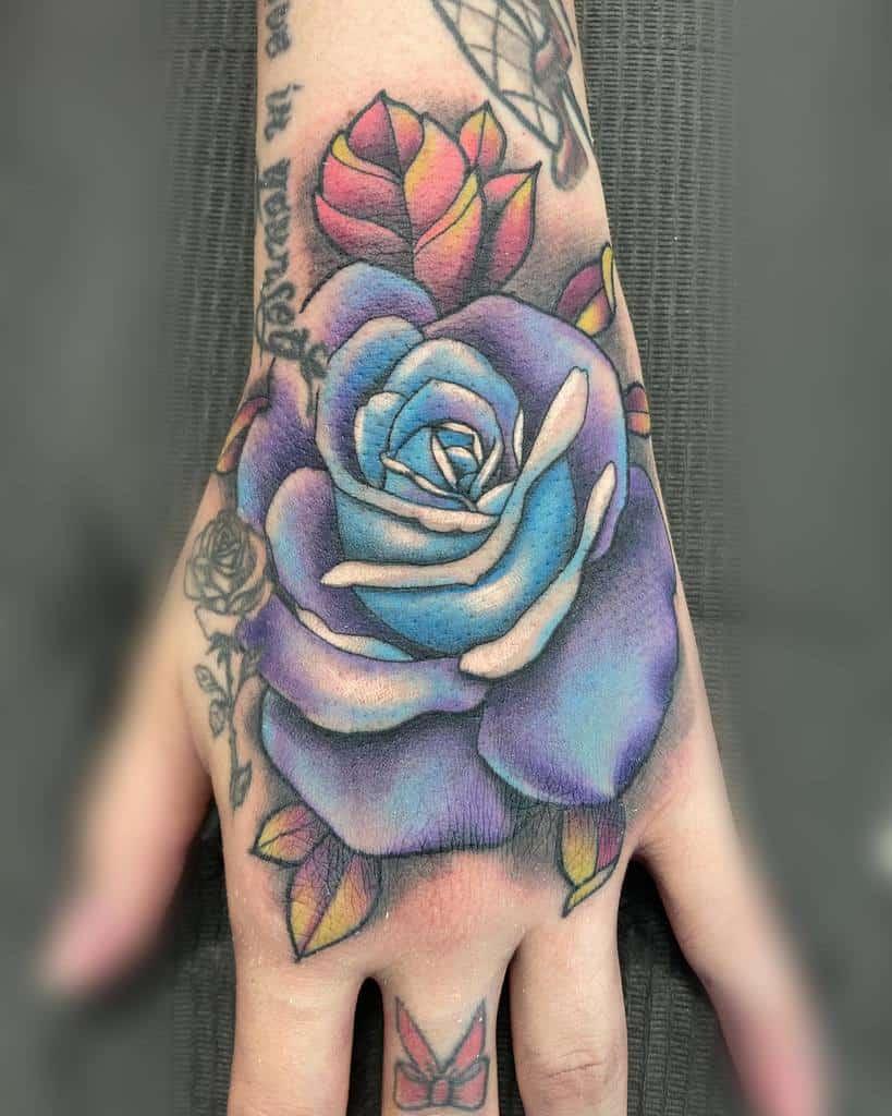 watercolor colored rose hand tattoos mizlanav