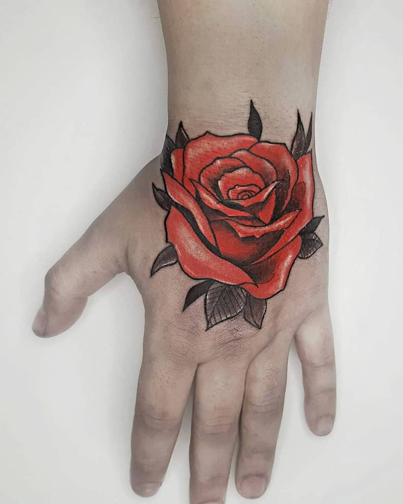 watercolor colored rose hand tattoos myriam.dey.tattoo