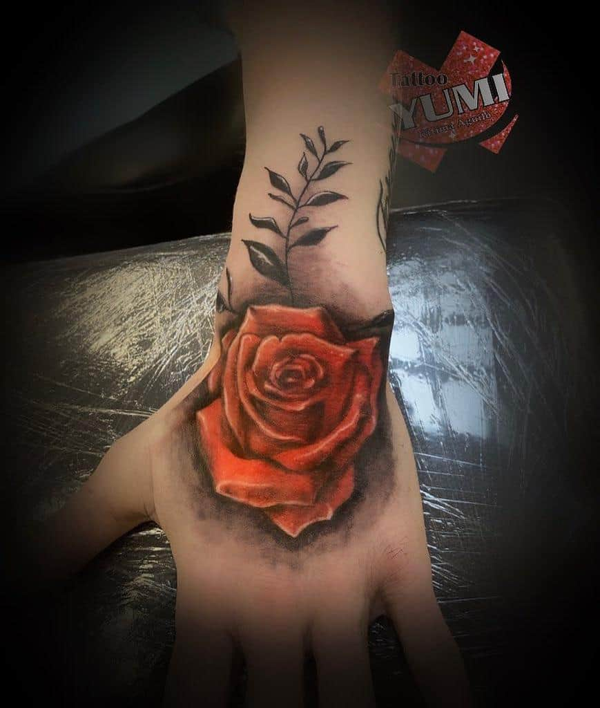 watercolor colored rose hand tattoos tattoo_yumi