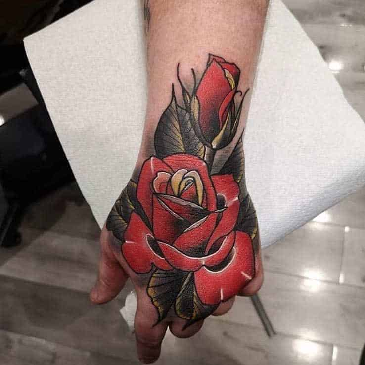 watercolor-colored-rose-hand-tattoos-westlondoninktattoos
