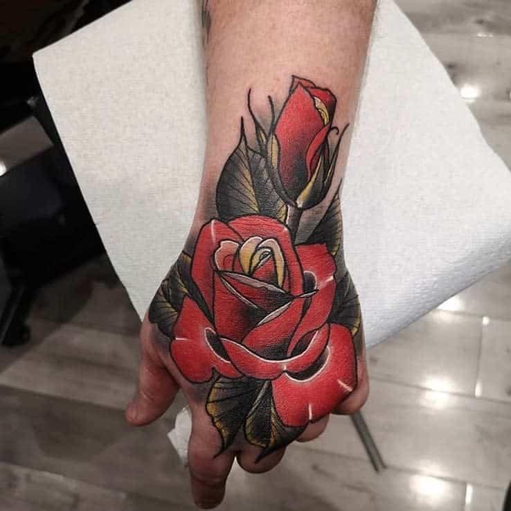 watercolor colored rose hand tattoos westlondoninktattoos