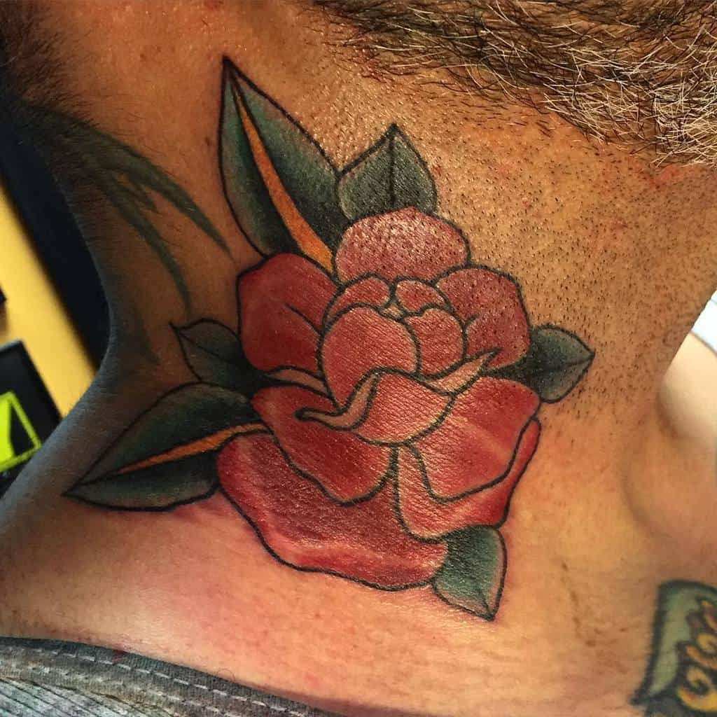 watercolor colored rose neck tattoos chelsbells_tattoos