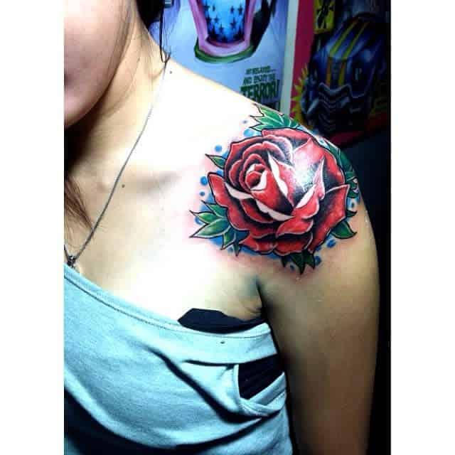 watercolor colored rose shoulder tattoos juniorstarness