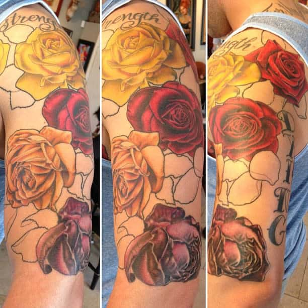 watercolor colored rose sleeve tattoos sarahink