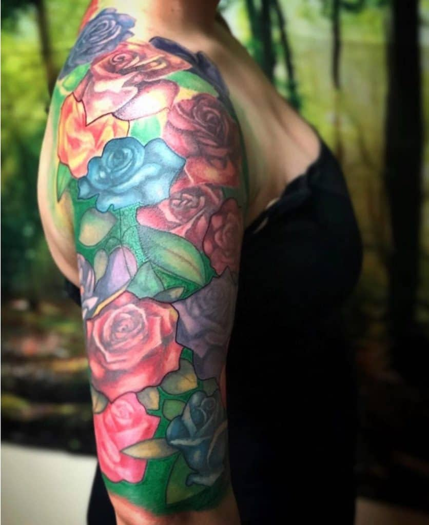 watercolor colored rose sleeve tattoos thewolfdencustomtattoo