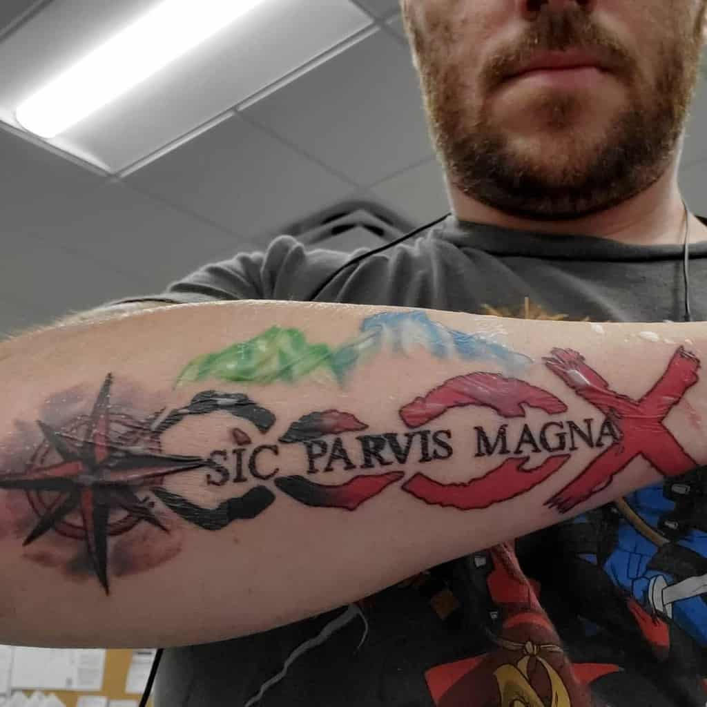 Watercolor Colored Sic Parvis Magna Tattoos Anthonyphoenixcreations