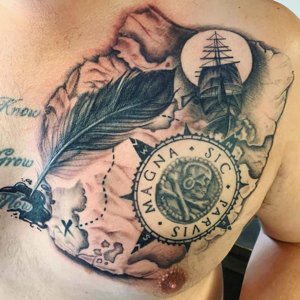Watercolor Colored Sic Parvis Magna Tattoos Frankybigras