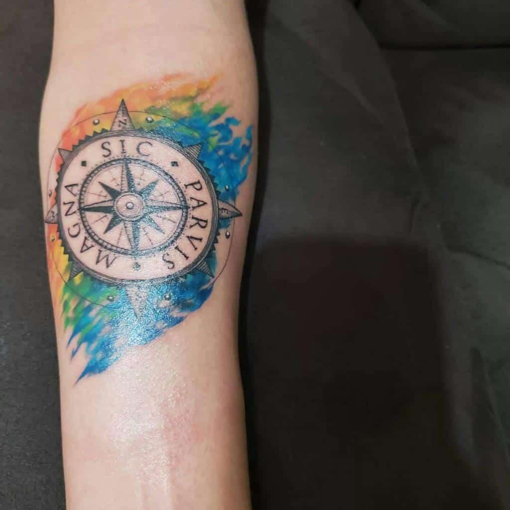 Watercolor Colored Sic Parvis Magna Tattoos Renan Quintanilla