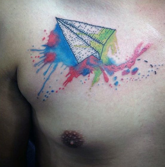 Watercolor Colorful Male Paper Airplane Tattoo On Chest