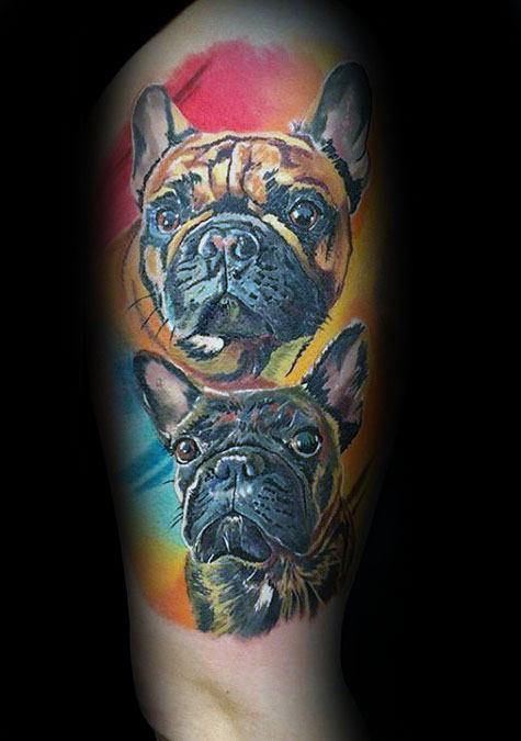 Watercolor Colorful Mens Bulldog Half Sleeve Tattoos