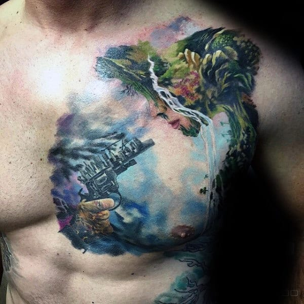 Watercolor Colorful Mens Upper Chest Modern Tattoo Design Ideas