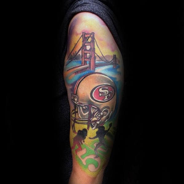 Watercolor Colorful San Francisco 49ers Themed Mens Half Sleeve Tattoo