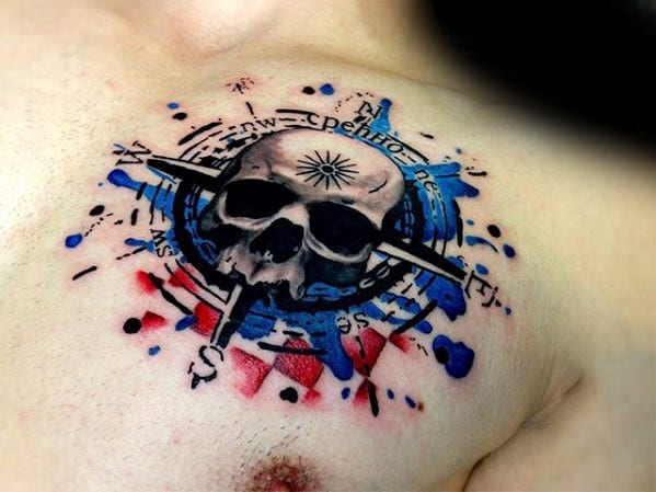 Watercolor Compass Skull Mens Red And Blue Ink 3d Chest Tattoo