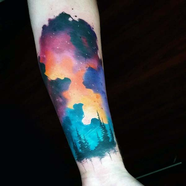 Watercolor Cool Creative Sky Tattoos For Guys On Inner Forearm