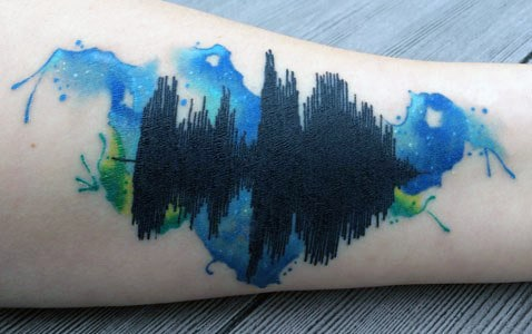 Watercolor Creative Soundwave Arm Tattoo On Man