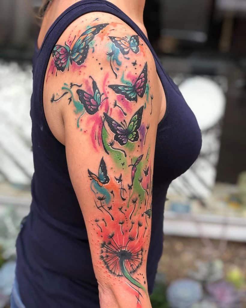 watercolor dandelion butterfly tattoo