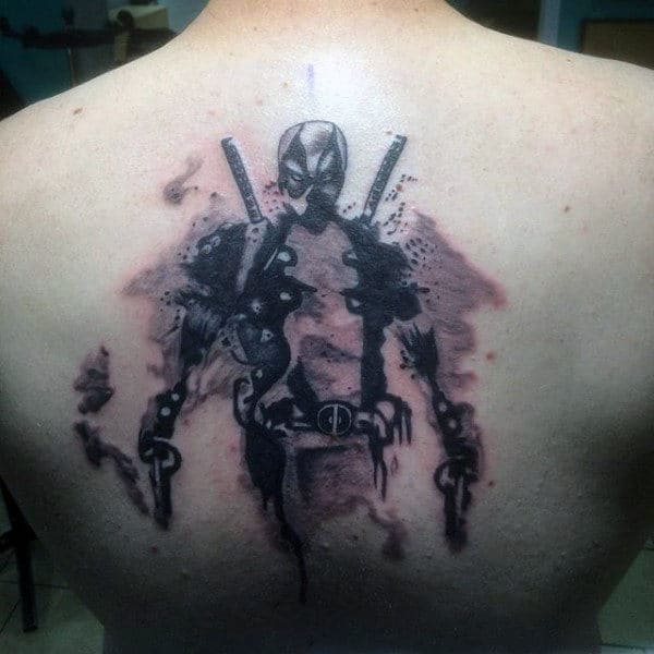 Watercolor Deadpool Shaded Male Back Tatotos
