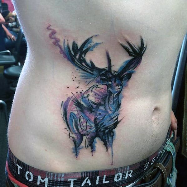 Watercolor Deer Antler Tattoos For Men On Rib Cage Side