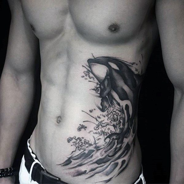 Watercolor Dolphin Unique Chest Mens Tattoos