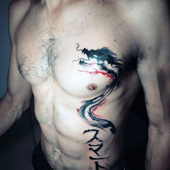 Watercolor Dragon Chest Red And Black Ink Mens Tattoos