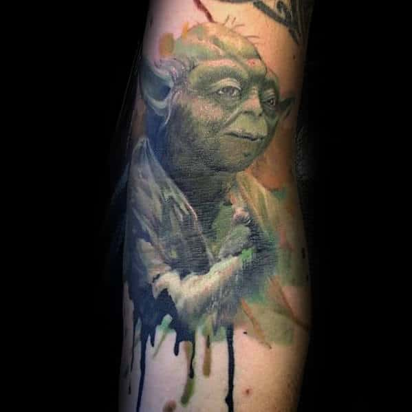 Watercolor Dripping Paint Yoda Male Inner Arm Tattoo