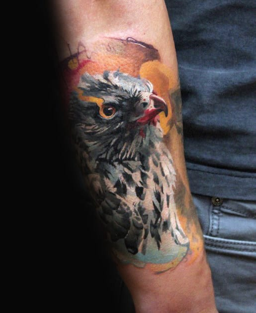 Watercolor Falcon Inner Forearm Tattoos For Men