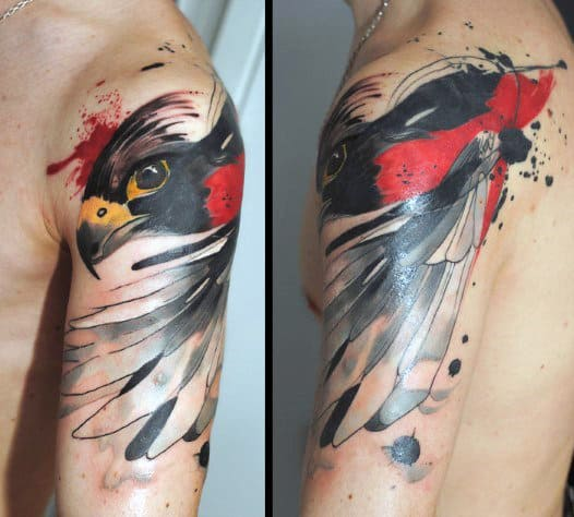 Watercolor Falcon Upper Arm Male Tattoo Ideas