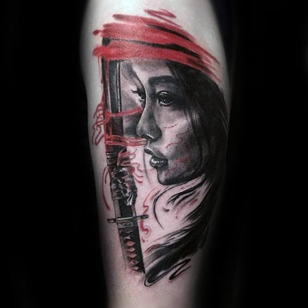 Watercolor Female Portrait Katana Mens Arm Tattoo