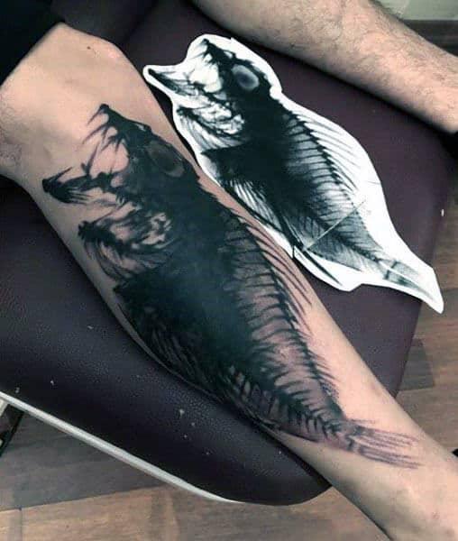 Watercolor Fish Skeleton Manly Guys Leg Tattoos