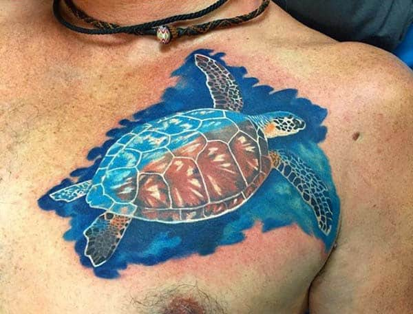 Watercolor Floating Turtle Mens Upper Chest Tattoo