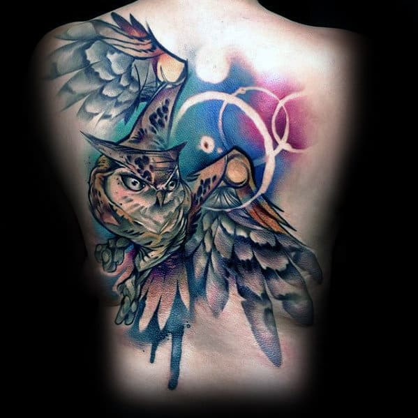 Watercolor Flying Owl Male Back Tattoo Designs