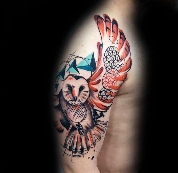 Watercolor Flying Owl Male Coolest Arm Tattoos