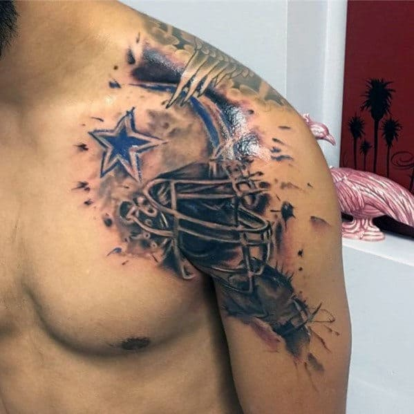 Watercolor Football Helmet Male Dallas Cowboys Shoulder Tattoo Ideas